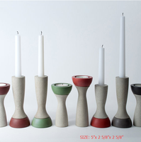 kitchen accessories colorful painted candle holder Reversible concrete Candlestick