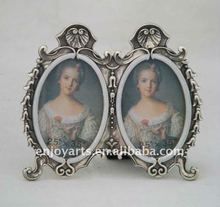 pewter metal picture frame with two photos(P0139023b-2)