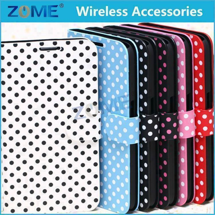 New Products Lovely Polka Dots Girls Leather Flip Wallet Stand Case With Card Slots For Samsung Mega 6.3 I9200
