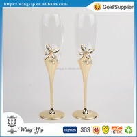 OEM and ODM hot sales Free sample Wedding Souvenir Crystal Silver Champagne Flute