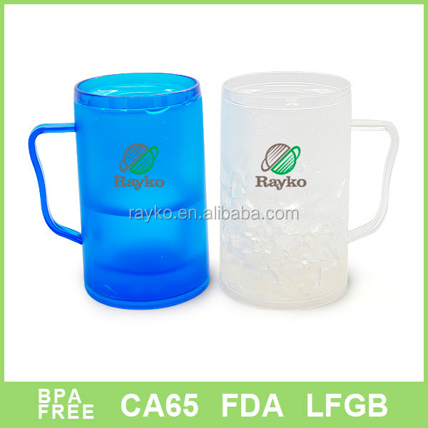 double wall plastic frosty beer/water mug with handle