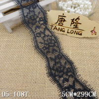 5cm black eyelash chantilly victorian lace trim for wholesale
