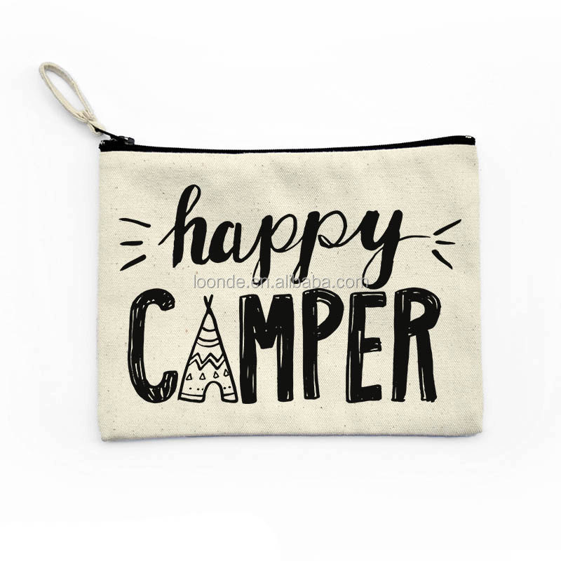 Personalized happy camper canvas toiletry tote bags with zipper