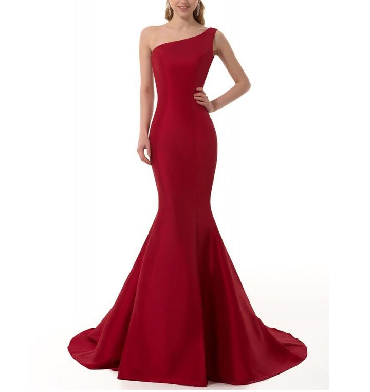 Burgundy Prom Dresses Brief Elegant Burgundy Mermaid One-Shoulder Evening Dress