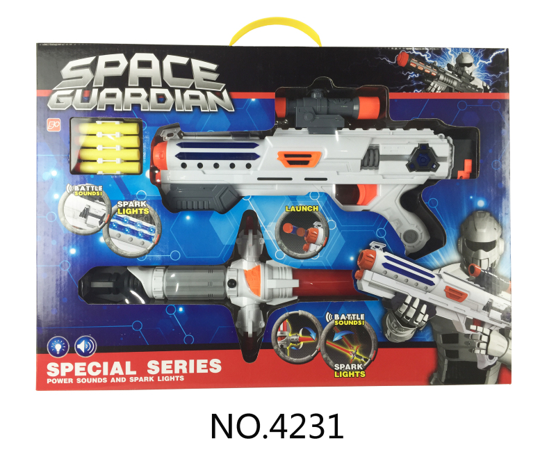 electronic gun for kids space weapon with light and sound+sword