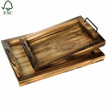 Vintage Style Holder Paulownia Wooden Tea Bed Serving Sertvice Tray