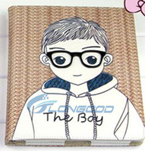 New Tablet Case Cover Glasses Boy 3D Folio Leather Case For iPad