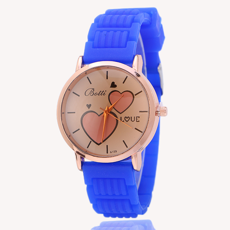 fashion double love design rubber strap watch ladies bracelet hand watches OEM custom logo