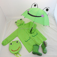 Frog Children Rain Gear Set Umbrella