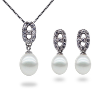 freshwater original pearl set 925 silver fitting