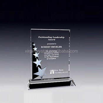 Unique design crystal shooting star trophy ornament souvenir plaque