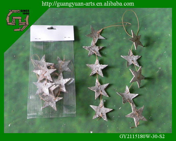 natural birch tree bark ornaments Christmas star