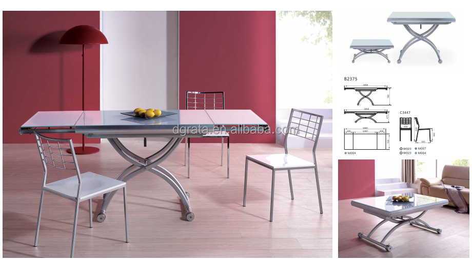 2016 Air control lifting dining table with brake wheel is made by tempered glass for dining room furniture