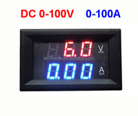 New DC 0-100V 0-100A Volt Ammeter Meter Dual Color with 100A 75mV Current Shunt Good