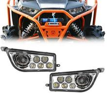 Chrome Auto Accessories ATV LED Headlight kit Headlamp for Polaris Razor Push 1000