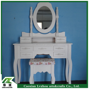 french country shabby chic solid wood dressing table with mirror