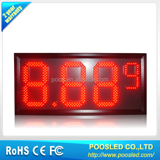 <strong>12</strong>''+6'' OUTDOOR RED 8.88 9 LED GAS PRICE SIGN