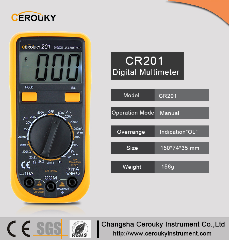 Mini size multimeter, rock-bottom analog multimeter pocket standard low price digital multimeter CR201
