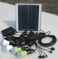 Hot sell 8W solar home lighting system with 4 led lights and mobile phone charger
