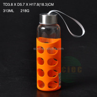 300ml clear glass bottle with protective bag