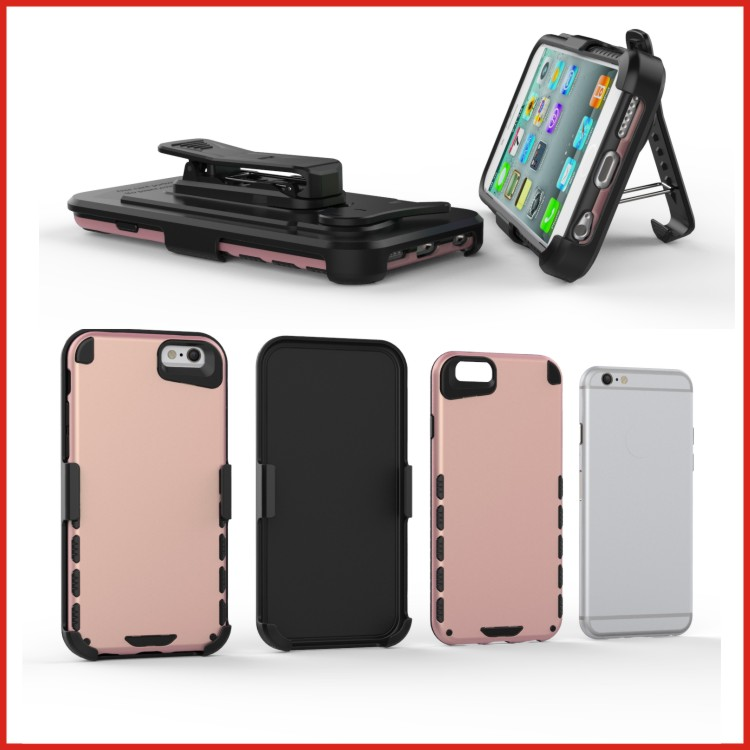 New combo PC TPU belt clip armor robot case for iphone 6 plus case
