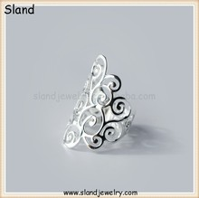 Amazon romantic women jewelry 925 silver filigree ring - sterling silver Long Floral Filigree Polish Finished Ring