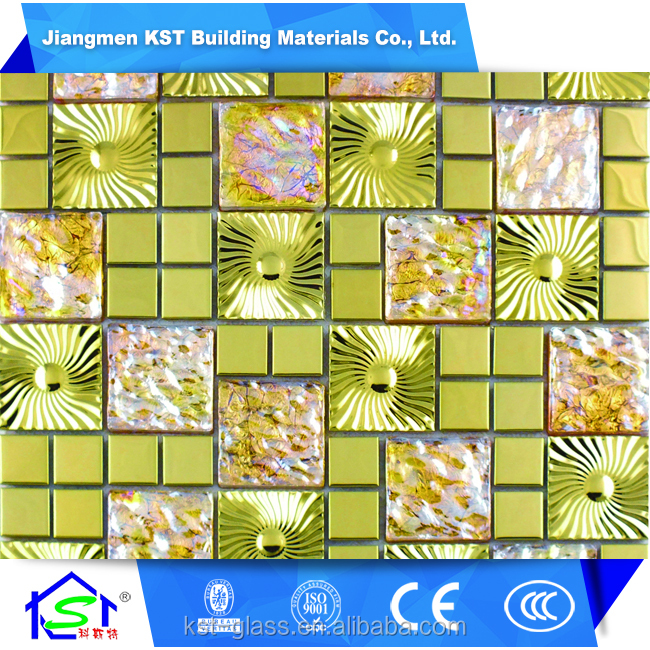 New arrival Artful Metal And Color Glass Mosaic , 3 D mosaic tiles for sale