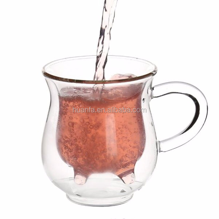 High Quality Heat-Resisting Dairy Cow Drink Cups Water/tea Mug Creative Double Wall Glass Tea Cup