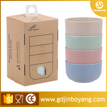 Biodegradable wheat straw tableware wholesale Colorful round plastic bowl set High quality wheat straw bowl