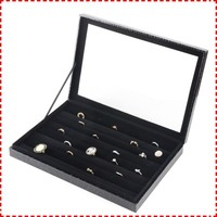 Not fixed slot Black velvet ring boxes for sale wholesale with lid, ring case