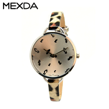 Leopard grain design leather strap fashion girls fancy watch women dress students watches