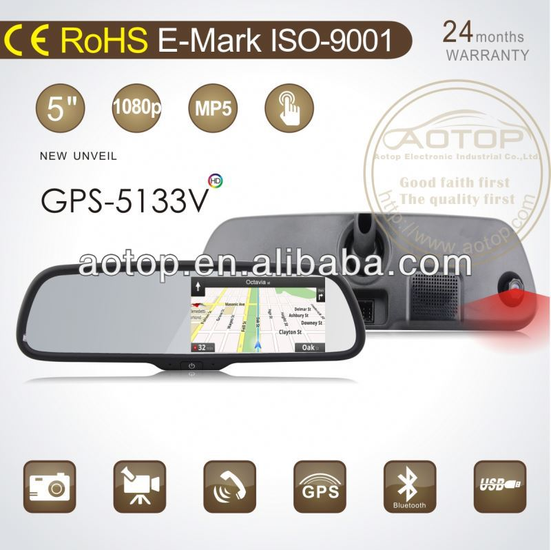 5 inch car mirror gps navigation system with 1.0GHZ frequency,high resolution DVR,Mic,speaker support bluetooth handsfree phone