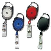 carabiner Retractable Badges with keyring/Carabiner retractable pull reel badge holder/ Retractable Reel oval Shape Badge Holder