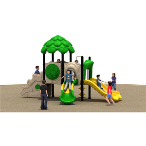 Hot sale forest theme outdoor kids double slide playground cheap amusement park equipment