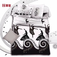 100% Cotton 3D Printed Bedding Set, White/Black printed Bed fitted Sets