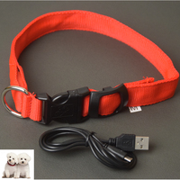 Wholesale Plain Polyester Led Usb Rechargeable Strong Pet Collar Dog Collars Cat Collar