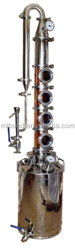 Small Home 50L/100L Modular Copper Stainless Alcohol Distillery Equipment With Reflux Column