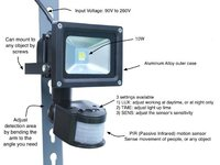 50 Watt LED Flood Light With Motion Sensor 7000K Daylight White For Garages Pathways Sheds Security Dark Area Lighting