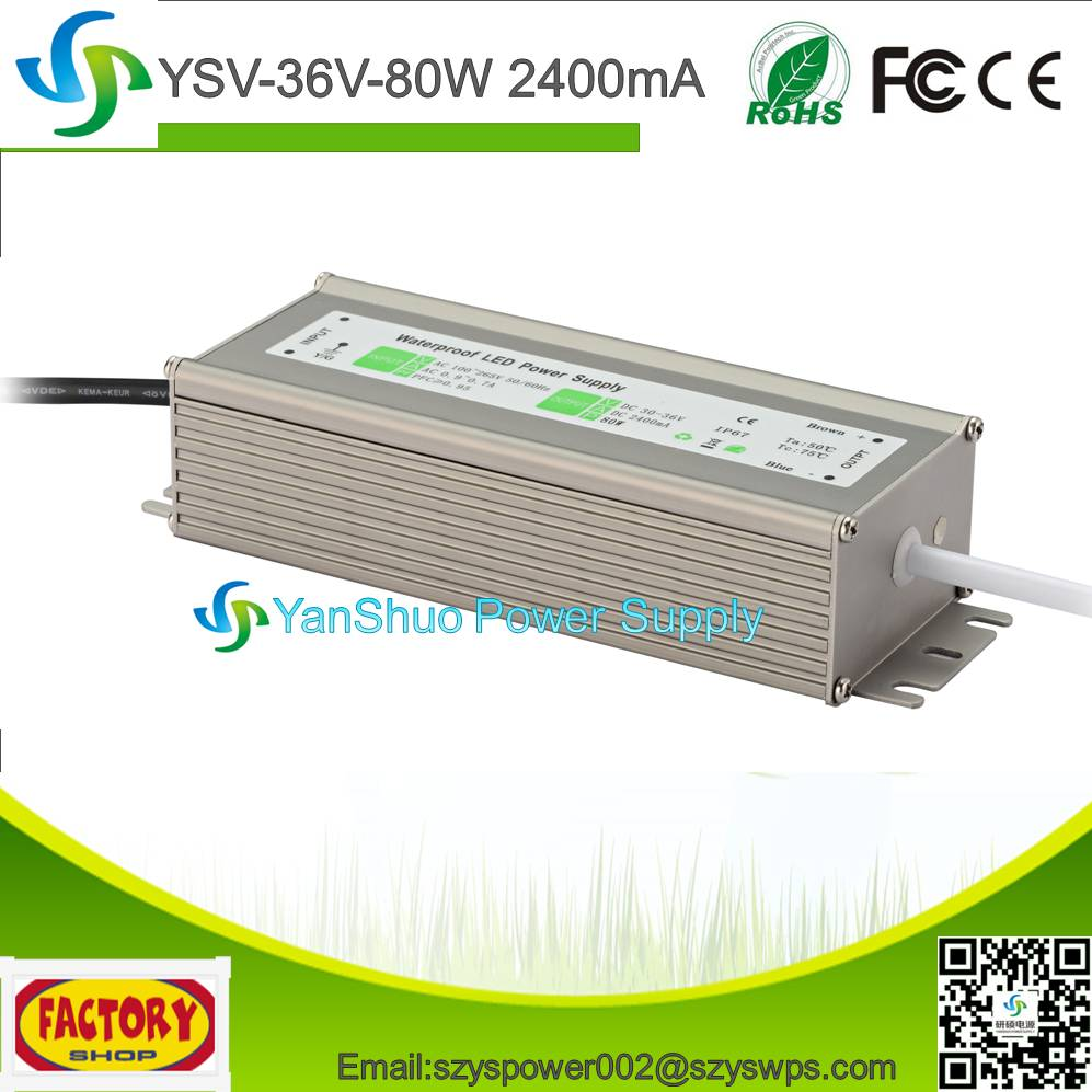 LED driver 36V 80W 2400mA constant current LED switching power supply