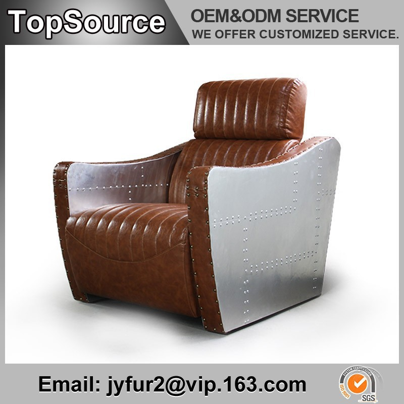 Industrial Furniture Buttoned Leather-Covered European Leather Sofa Sale