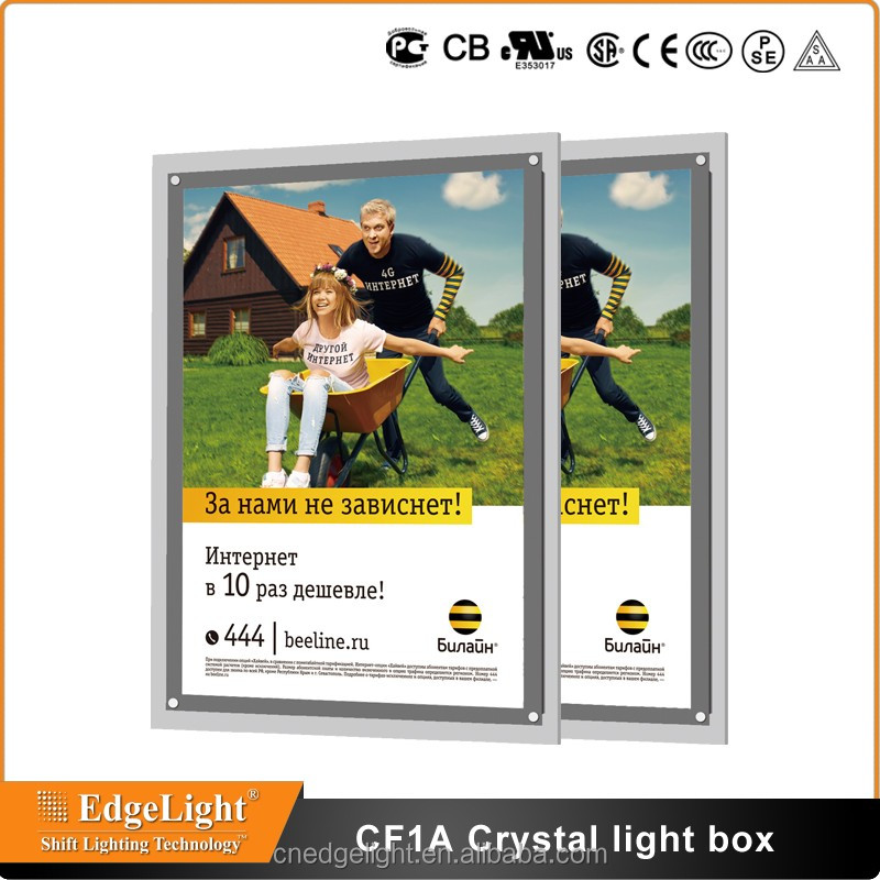 Edgelight CF1A warehouse alibaba china supplier acrylic led light box for <strong>advertising</strong>