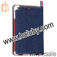 Kassa Jeans Pattern Card Slots Stand Leather Flip Case for iPad Mini/iPad Mini 2 Retina With Strap with Retail Package