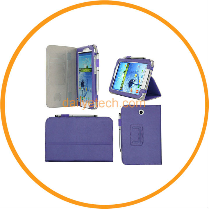 PU Leather Case for Samsung Galaxy Note 8.0 N5100 with Stylus Holder Hand Strap Purple from Dailyetech
