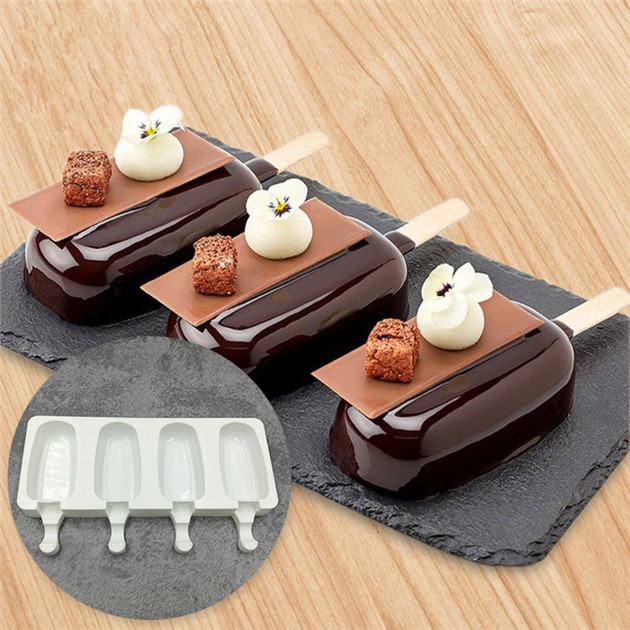 Hot Sales 4 Cavities Silicone Cute Ice Cream Pop popsicle Mould / Mold