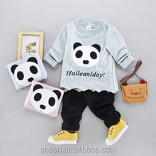 HT-GC cute 100% cotton spring autumn children fake two 2 pieces clothing set baby boy clothes clothing