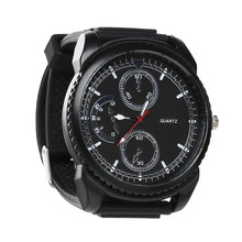 Fashion Round Black Battery Included Man Silicone Adjustable Wrist Watch