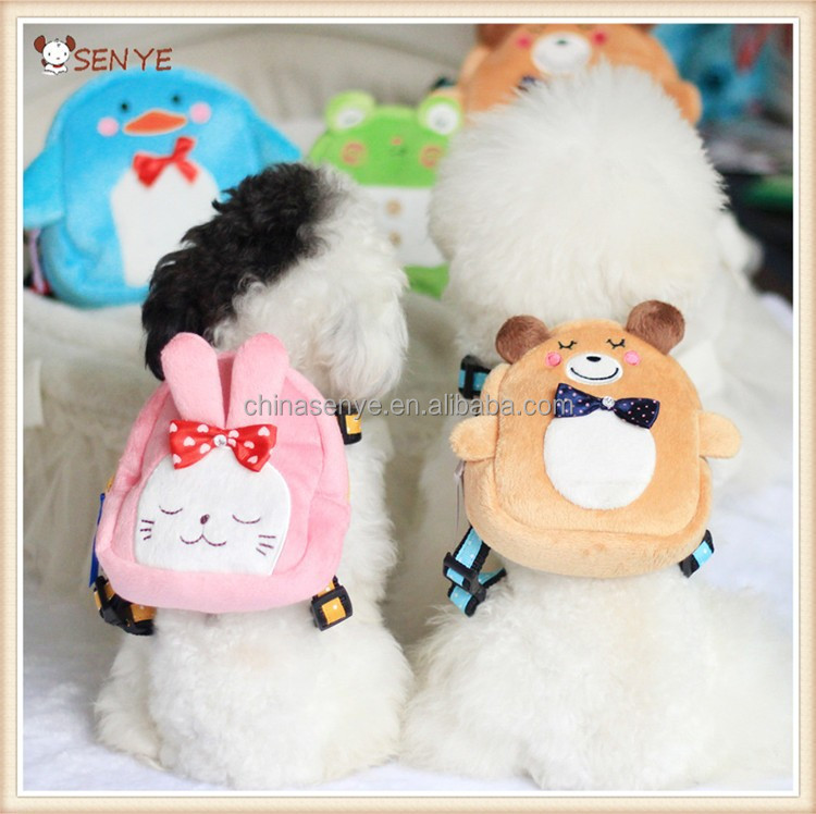 Cute carton dog harness backpack dog bag leash retractable dog leash with bag