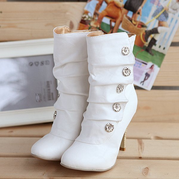ZH0496L 2017 korean style fashion ladies stiletto high heel boots shoes women pu ankle boots
