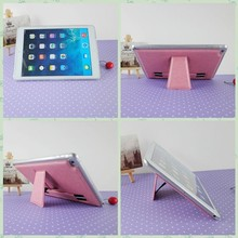 Light pink elegant women check piece for apple ipad hanging case pu stand case for ipad air 2 leather cover for ipad 6 wholesale