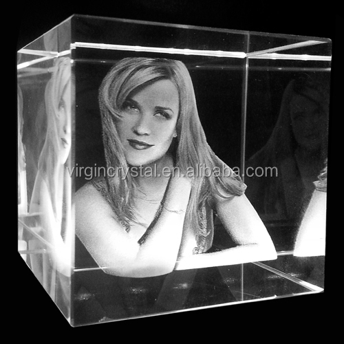 3d Laser Engraving Glass Cube Photo Frame Souvenir Gifts